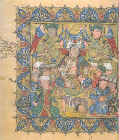 Frontispicio de una copia mameluca del Maqamat de Hariri, 1334, Egipto