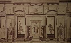 Fresco de Pompeya con escena de mimo. Casa de los gladiadores. Pompeya