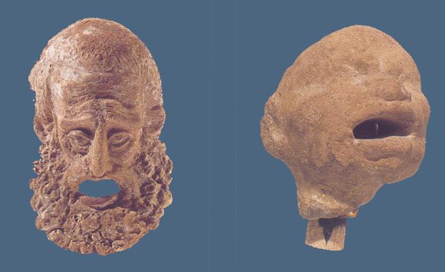 Máscara trágica y cabeza grotesca