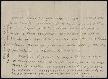 Carta (reverso) de Ramón Acín a sus hijas desde la carcel de Huesca