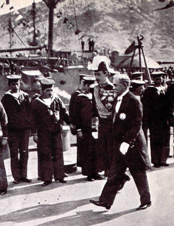 El presidente Poincaré y Alfonso XIII en Cartagena, octubre de 1913