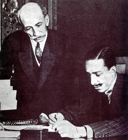 Eduardo Dato, presidente del gobierno español en el momento de estallar la Gran Guerra, con Alfonso XIII