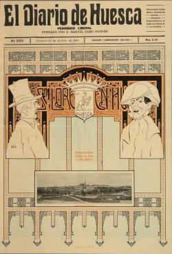 Portada de El Diario de Huesca con motivo de las fiestas de San Lorenzo. Autor: Ramón Acín. 10 de agosto de 1913 (Instituto de Estudios Altoaragoneses, Huesca)