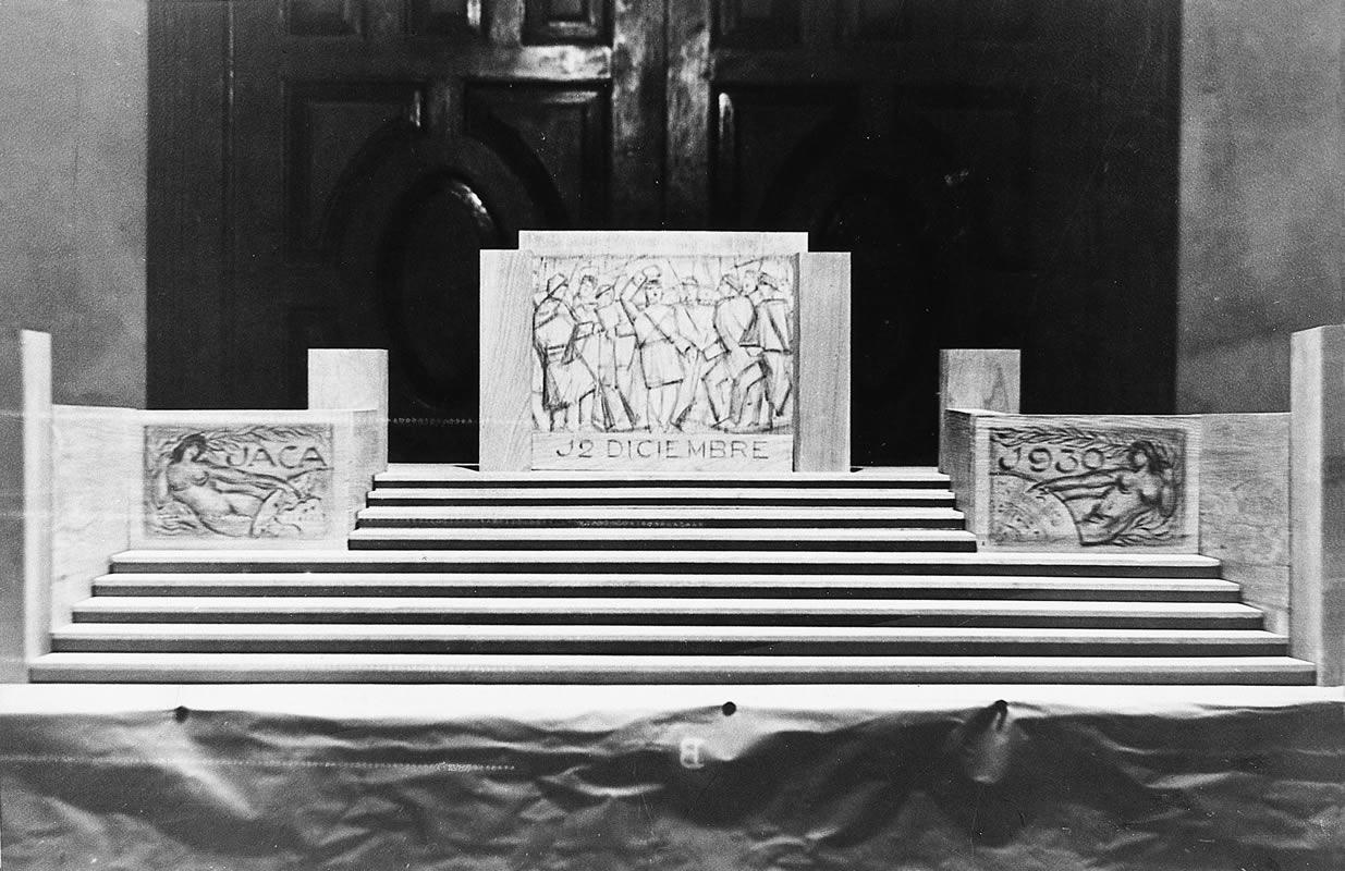 Maqueta de cartón, desaparecida, del monumento a los capitanes Galán y García Hernández en Jaca
