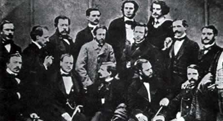 Francisco Giner de los Ríos y Pedro Antonio Alarcón junto con otros miembros de la Cuerda Granadina