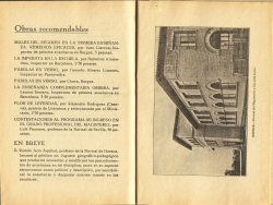 Página 179 de la obra El Medio y la Escuela (comunicaciones) donde se hace mención del juego geográfico-pedagógico que Ramón Acín lanzará al público en breve y que causará sensación, y en la página 180 una fotografía del edificio de la Normal de Huesca. 1934