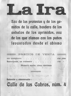 Primer número de La Ira. Contraportada. 18 de julio de 1913 (Familia Acín)