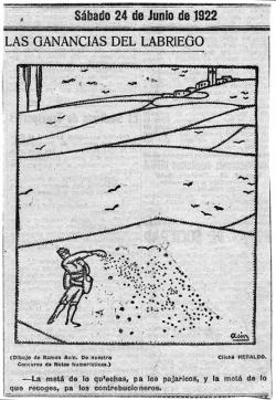 Las ganancias del labriego. Heraldo de Aragón, 24 de junio de 1922 (Museo de Huesca)