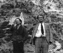 Max Aub y André Malraux durante el rodaje de «Sierra de Teruel», 1938-1939 (Filmoteca de la Generalitat Valenciana)