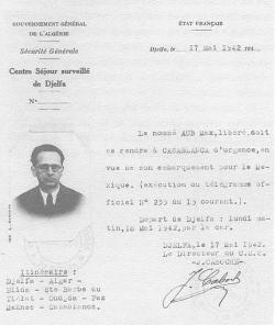 Orden de puesta de libertad de Max Aub, Djelfa (Argelia), 17/05/1942, Archivo familia Aub