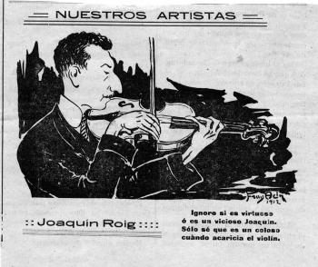 Nuestros artistas. Caricatura de Joaquín Roig. Diario de Huesca, 9 de junio de 1912 (Museo de Huesca)