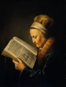 Anciana leyendo (Gäbriel Metsu)