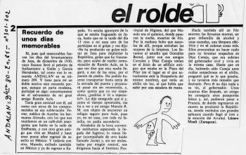 Recuerdos de cómo fue escondido Ramón Acín, tras el levantamiento de Jaca, en diciembre de 1930, hasta su marcha a Francia. Enero de 1981. Revista Anadalán, Zaragoza (Museo de Huesca)