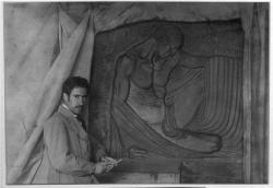 Ramón Acín ante el proyecto del relieve escultórico para el Osorio por encargo del Ayuntamiento de Huesca. Finalmente, no se llevó a cabo. Una copia fundida en bronce se encuentra actualmente sobre la tumba de Ramón Acín.