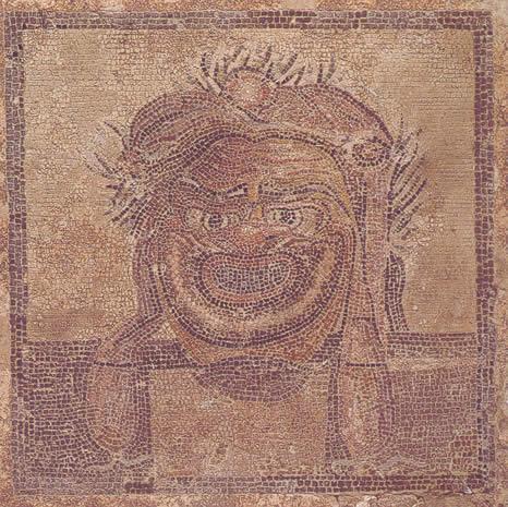 Emblema de mosaico con la representación de una máscara teatral