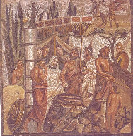 Emblema de mosaico con la representación del mito del sacrificio de Ifigenia en Aúlide