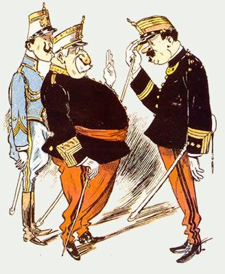 Sátira antimilitar de comienzos de siglo: «el General dice: Sr. Coronel, quedo complacido del estado de su regimiento. A propósito y hablando particularmente, ¿dónde compra usted los garbanzos para decírselo a mi señora?»