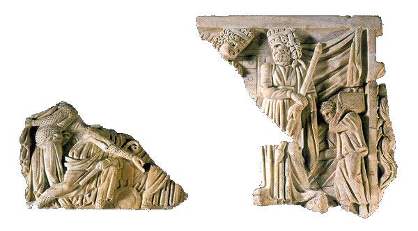 Fragmento de placa frontal de una tapa de sarcófago