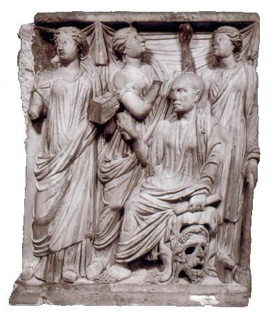 Fragmento de sarcófago, Musas y poeta