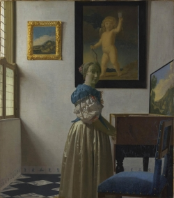 Vermeer: Dama al virginal. Hacia 1670. 51,7 x 45,2 cm. - National Gallery, Londres