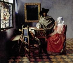 Vermeer: Dama bebiendo con un caballero. Hacia 1661-62. 65 x 77 cm. State Museums of Berlin