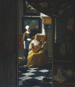 Vermeer: La carta de amor. Hacia 1669-70. 44 x 38.5 cm. - Rijksmuseum, Amsterdam