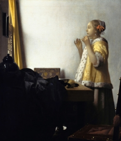 Vermeer: Mujer con collar de perlas. Hacia 1664. 55 x 45 cm. - Gemäldegalerie, Berlín
