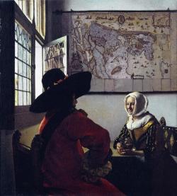 Vermeer: Oficial y mujer joven sonriendo. Entre 1655 y 1660. The Frick Collection New York