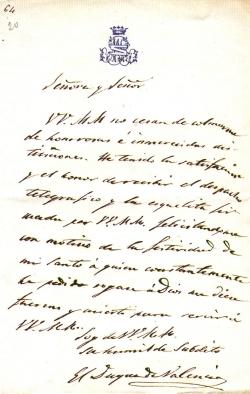 Carta de Narváez a Isabel II