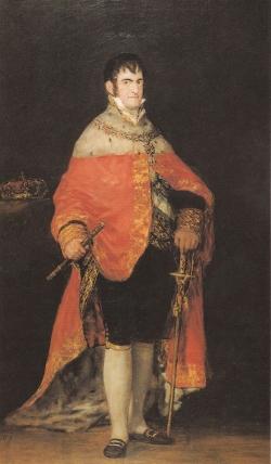 Goya. Retrato de Fernando VII con Manto Real. 1815