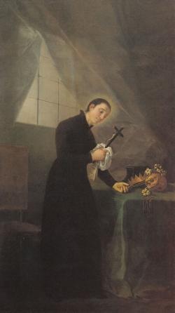 San Luis Gonzaga meditando en su estudio