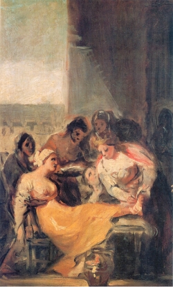 Goya. Santa Isabel curando a una enferma. Hacia 1800