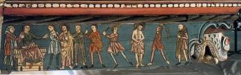 Techumbre Catedral de Teruel. Jesús ante Pilatos y flagelación
