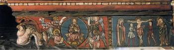 Techumbre Catedral de Teruel. Maiestas y crucifixión