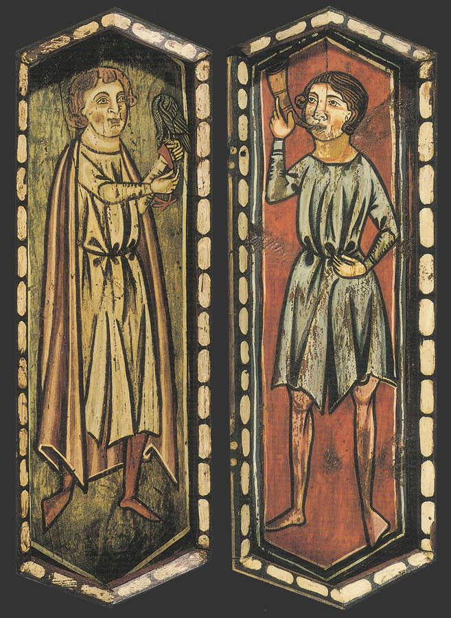 La techumbre de la Catedral de Teruel. Caballero con halcón y Tocador de cuerno