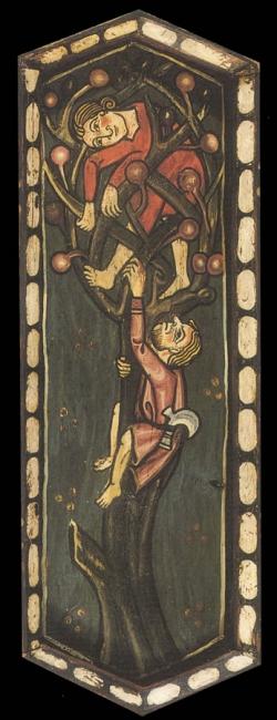 La techumbre de la Catedral de Teruel. Hombres subidos a un árbol