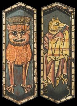 La techumbre de la Catedral de Teruel. León coronado (¿Nobles?) y Zorro con pomo (¿Renard?)
