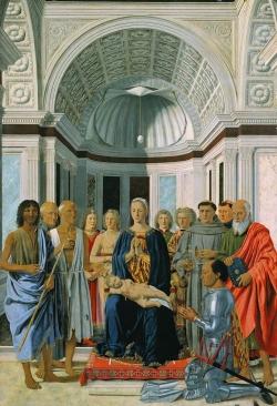 Piero della Francesca: Virgen con el niño adorada por Federico de Montefeltro. c. 1474. Milán. Pinacoteca Brera