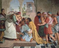 Peter Cornelius: Jesús reconocido por sus hermanos. 1816-1817. Alte Nationalgalerie (Berlin)