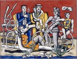 Ferdinand Léger: Les loisirs sur fond rouge. 1949. Musée National Fernand Léger