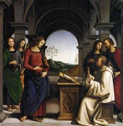 Pietro Vanucci Il Perugino: Visión de San Bernando. 1488-1489. Alte Pinakothek. Munich