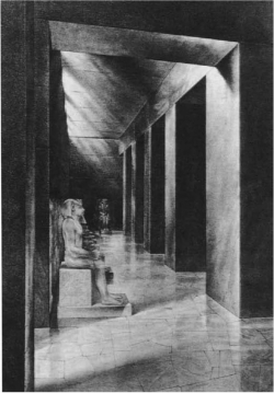 Fig. 19. Reconstruction of interior, valley temple of Khafre, Giza