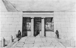 Fig. 22. Reconstruction of facade, mastaba of Seshem-nefer IV, Giza