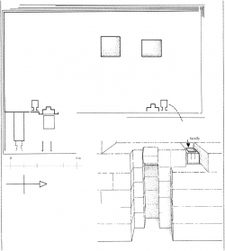 Fig. 23. Plan of mastaba of Seneb and view of northern false door of Senet-ites, with serdab niche, Giza