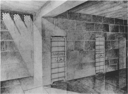 Fig. 24. Reconstruction of front of serdab, mastaba of Seshem-nefer II, Giza