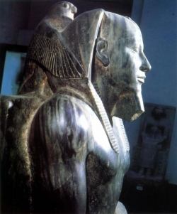 Fig. 28. Khafre Seated with the Horus Falcon behind His Head