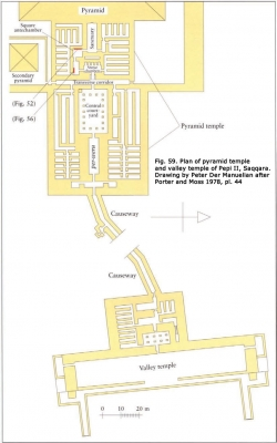 Fig. 59. Plan of pyramid temple and valley temple of Pepi II, Saqqara