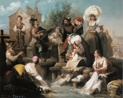 Manuel Rodríguez de Guzmán: Lavanderas del Manzanares, 1859