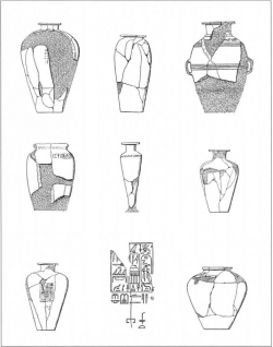 Fig. 75. Stone vessels found in the pyramid of Pepi II