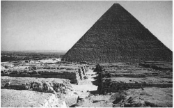 Fig. 81. View down a street of mastaba tombs in cemetery 4000, looking south toward the pyramid of Khafre